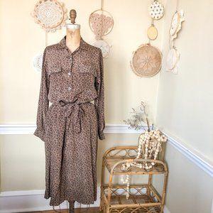 Vintage 1980's Leopard Print Silk Shirt Dress M